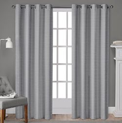 Exclusive Home Curtains Whitby Grommet Top Window Curtain Panel Pair, 54×96, Silver, 2 Piece