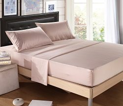 DelbouTree Silky Soft Solid Matte-Satin Bed Sheet Sets Shiny-Free,Deep Pocket Queen 4 Pieces, Tr ...