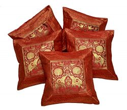 Amazing India 5 Elephant Embroidered Silk Banarasi Brocade Work Cushion Covers 16X16 Inches Red