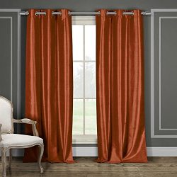 Duck River Textiles BALI 10689D=12 2 Piece Bali Faux Silk Grommet Pair Panel, 38×84, Rust O ...