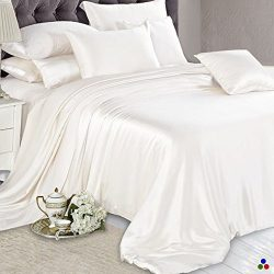 ElleSilk Ivory Silk Duvet Cover, 22MM Seamless Mulberry Silk, Hypoallergenic, King Size