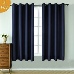 HOLKING 1 Pair New Tech Faux Silk Thermal Insulated Solid Grommet Blackout Curtains Panels 63 in ...