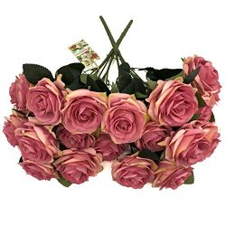 DALAMODA Magenta 2 Bundles 20 heads Rose Flower Bouquet, for DIY any Decoration Artificial Silk  ...