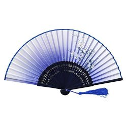 Weixinbuy Chinese Hand Held Fan Silk Flower Bamboo Folding Pocket Fan Wedding Party(Random Color)