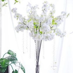 PARTY JOY 4Pcs Artificial Cherry Blossom Branches Flowers Stems Silk Tall Fake Flower Arrangemen ...