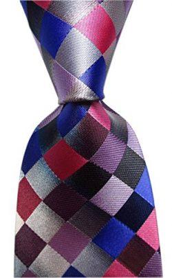 Secdtie Men's Classic Checks Purple Grey Jacquard Woven Silk Tie Necktie Dark Purple
