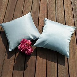 PONY DANCE Decorative Cushion Covers for Couch Square Faux Silk Supersoft Throw Pillow Covers fo ...