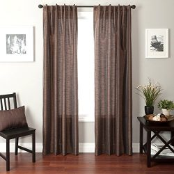 Softline Home Fashions Bergamo Faux Silk Back Tab Window Panel/Curtain/Sheer/Drape, Chocolate, 5 ...