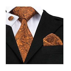 Dubulle Paisley Neckties for Men Tie and Pocket Square Cufflinks Set Dark Orange Jacquard Silk Tie