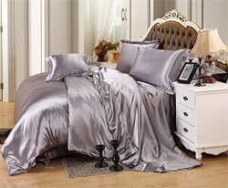 MoonLight Bedding Luxurious Ultra Soft Silky Satin (1 Comforter Cover, 2 Pillowcases & 1 Fit ...