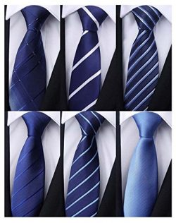 Weishang Pack of 6 Men's Classic Tie Silk Necktie Woven Jacquard Neck Ties (Set 10)