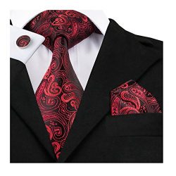 Dubulle Paisley Jacquard Tie Set Mens Woven Silk Necktie Pocket Square Red Black Dark Color Tie