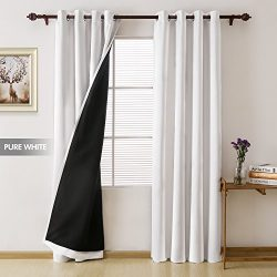 Deconovo Total Blackout Curtains Grommet Thermal Insulated Room Darkening Faux Silk Satin Black  ...