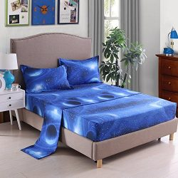 YOUSA 3D Galaxy Starrying Night Bedding Set Microfiber Bed Sheets (Full,02)