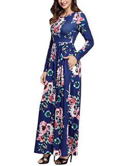 Leadingstar Women's Long Sleeve Vintage Floral Print Boho Maxi Casual dress Royal Blue XL
