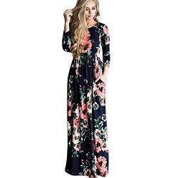 OPSLEA Women Floral Print Long Sleeve Boho Dress Silk Elegant Long Maxi Dress