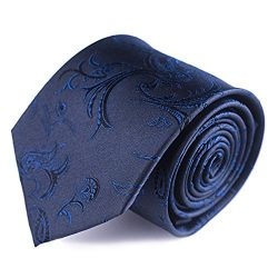 Qobod Silk Necktie Handmade Tie Men's Gift Boxes navy paisley flower floral jacquard