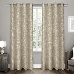 Exclusive Home Forest Hill Room Darkening Grommet Top Window Curtain Panel Pair, 52×96, Nat ...
