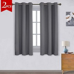 Emolli Faux Silk Curtain Panels,Noise Reducing Thermal Insulated Grommet Blackout Window Curtain ...