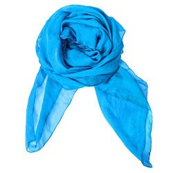 Solid Color Silk Scarf Can Be Used as Cape, Scarf and Wrap, Blue