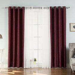 Best Home Fashion Tulle Lace & Faux Silk Blackout Curtain Set – Antique Bronze Grommet Top – ...