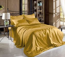 Hight Thread Count Solid Color Soft Silky Charmeuse Satin Luxury and Super Soft Bed Sheet Set (G ...