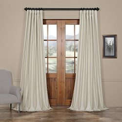 Half Price Drapes PDCH-KBS21-108 Vintage Textured Faux Dupioni Silk Curtain, 50 x 108, Mist Grey