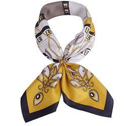 Silk Scarf For Women, 100% Silk Scarf for Hair Square silk scarf 16mm Twill silk (yellow2)