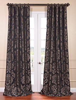 Half Price Drapes JQCH-201301-84 Astoria Faux Silk Jacquard Curtain, Black & Pewter, 50 x 84
