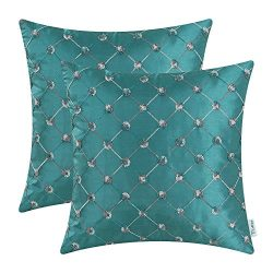 CaliTime Pack of 2 Cushion Covers Throw Pillow Cases Shells for Home Sofa Couch 18 X 18 Inches,  ...