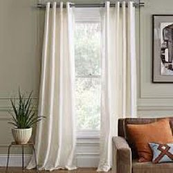 Ivory Grommet Style In 95″Lenth 2 Pcs Solid Grommet Faux Silk Window Curtain Drapes Panels ...