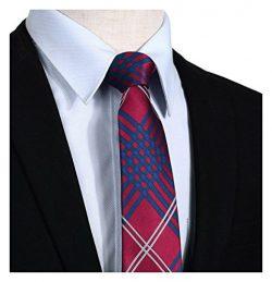 HISDERN Plaid Tie Handkerchief Woven Classic Stripe Men's Necktie & Pocket Square Set Red