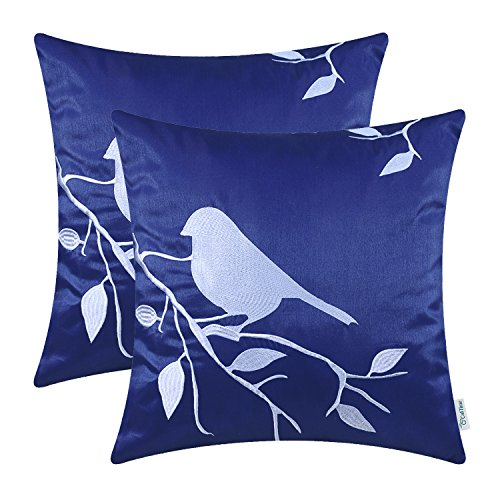 CaliTime Pack of 2 Cushion Covers Throw Pillow Cases Shells for Home Sofa Couch, Bird In Tree Br ...