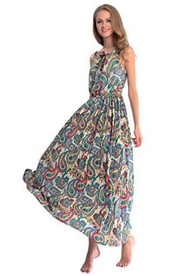 DILANNI Woman's Bohemian Summer Cold Shoulder Long Maxi Dress (Small,Color 8)