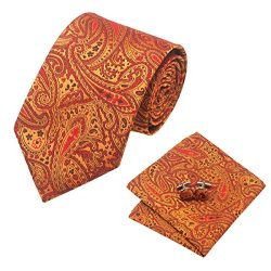 Barry.Wang Orange Ties Wedding Tie Hanky Cufflinks Set Paisley