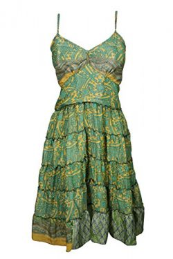 Mogul Womens Ella Sundress Recycled Vintage Silk Sari Spaghetti Strap Boho Resort Dresses (Green ...