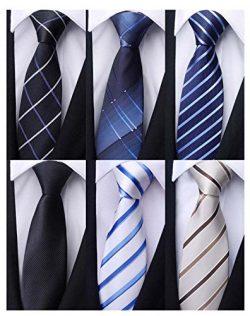 Weishang Pack of 6 Men's Classic Tie Silk Necktie Woven Jacquard Neck Ties (Set 9)