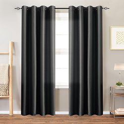 Faux Silk Dupioni Window Curtains for Living Room 95 inches Long Satin Grommet Black Curtain Pan ...