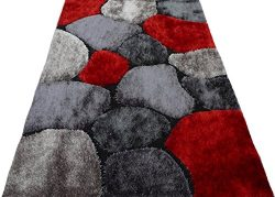 Shag Shaggy Modern Black Red Grey 5×8 Area Rug Actual Size 4'11 x 6'11