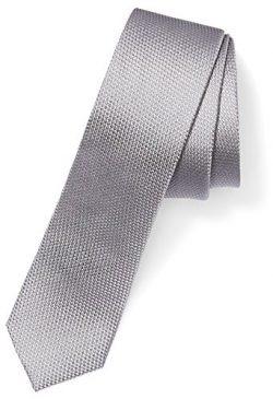 Buttoned Down Men's 100% Silk Skinny Tie, Silver Texture, Regular