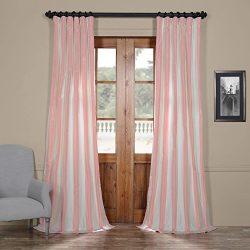 Half Price Drapes PTSCH-11091-120 Faux Silk Taffeta Stripe Curtain, Annabelle