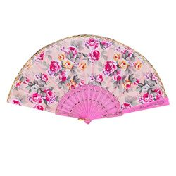 Coohole Chinese Classic Rose Pattern Folding Dance Wedding Party Lace Silk Folding Hand Held Flo ...