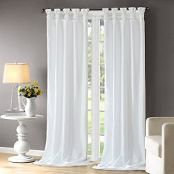 White Curtains For Living room, Transitional Fabric Curtains For Bedroom, Emilia Solid Window Cu ...