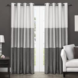 Exclusive Home Chateau Striped Faux Silk Window Curtain Panel Pair with Grommet Top, Black Pearl ...