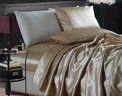 Chezmoi Collection 4-piece Bridal Satin Solid Color Sheet Set (California King, Champagne)