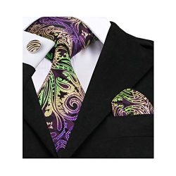 Barry.Wang Purple Paisley Ties Silk Necktie Set Pocket Suqare Cufflinks