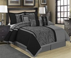 7 Piece LETICIA Tree Branches jacquard Burgundy Black Comforter Set- Queen King Cal.King Size (K ...