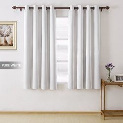 Deconovo Total Blackout Curtains Grommet Thermal Insulated Room Darkening Faux Silk Satin White  ...