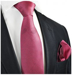 Extra Long Raspberry Silk Men's Tie and Pocket Square by Paul Malone