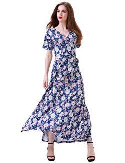 Aphratti Women's Bohemian Short Sleeve V Neck Long Beach Wrap Maxi Dress Large Navy/Floral